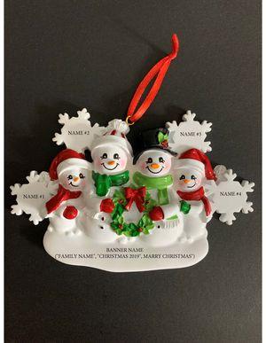 Snowmen Family of 4 Personalized Christmas Tree Ornament for Sale in Reston, VA
