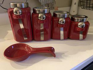 Kitchen Jar set & ladle holder. Red. for Sale in Norfolk, VA