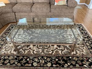 """Metal an 1/4"""" beveled glass cocktail table. Oil rubbed bronze finish. 52""""x 36"""" for Sale in Ballwin, MO"""
