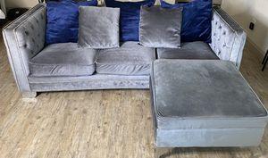 Gray Velvet Couch for Sale in Houston, TX