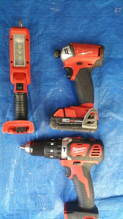 $230. Milwaukee Fuel surge Impact Drive with Battery + M18 Hammer Drill+ LED light for Sale in Evergreen,  CO
