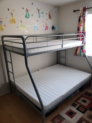Twin-Over-Full Bunk Bed with Metal Frame and Ladder for Sale in Walnut Creek, CA