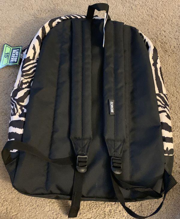 """Trans JanSport 17.5"""" Overt Backpack Laptop Sleeve Zebra Rose Kids Book Bag"""