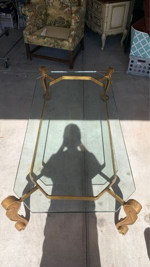 Antique glass table with think glass plate and brass stand for Sale in Phoenix, AZ