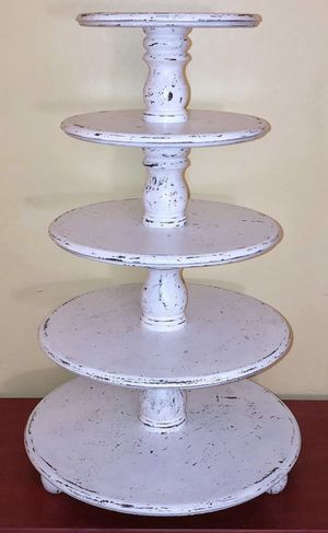 5-Tier Wooden Wedding Shabby Chic Dessert Cupcake Cookie Stand for Sale in Crofton, MD