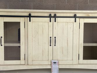 ‼️BRAND NEW ‼️ Barn Door Entertainment Console Antique White ! Free Set Up & Delivery for Sale in Fountain Valley,  CA