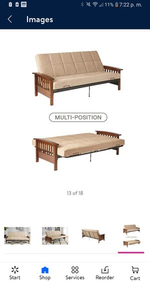 "Better Homes & Garden Neo mission Wood Arm Futon Espresso with 6"" mattres for Sale in Dallas, TX"
