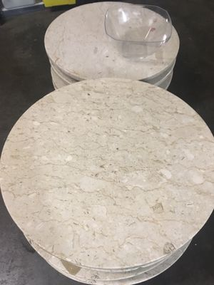 Solid Carrara White Marble Table(s) - 35 inch round tabletop for Sale in Shoreline, WA