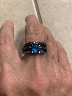 New 2 piece CZ Blue sapphire silver wedding ring size 9 for Sale in Inverness, IL