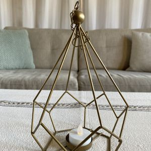 BRASS METAL HANGING CANDLE HOLDER LANTERN TEALIGHT DECOR CHAIN BOHO SCANDINAVIAN WEST ELM POTTERY BARN for Sale in Coronado, CA