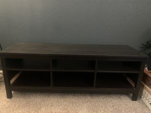 Black wood entertainment center with shelves for Sale in Arlington, TX