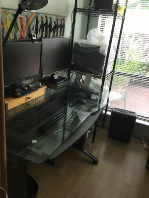 Desk, glass with slide-out keyboard tray for Sale in West Palm Beach, FL