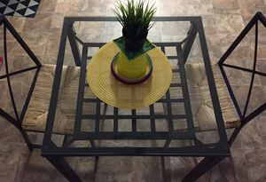 Glass top IKEA table with chairs kitchen table florida room for Sale in Tipp City, OH