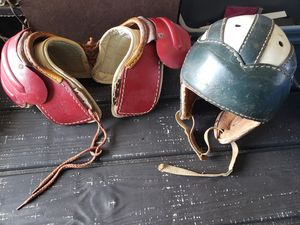 Circa 1950s childrens leather football helmut and shoulder pads for Sale in Wellington, FL