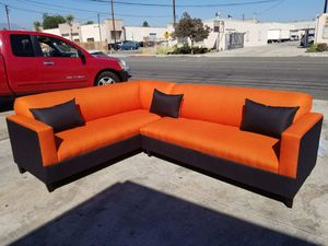 NEW 7X9FT CASSANDRA ORANGE FABRIC COMBO SECTIONAL COUCHES for Sale in Costa Mesa, CA