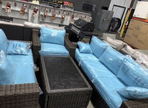 All-Wicker Outdoor Patio Furniture Chat Set with Turquoise Cushions - $39 Down Payment Finance for Sale in Houston, TX