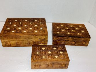 Antique Early 1900's Russian Hand Crafted Wooden Inlay Design Nesting Jewelry Trinket Boxes Set Of 3 for Sale in Spring Hill,  FL