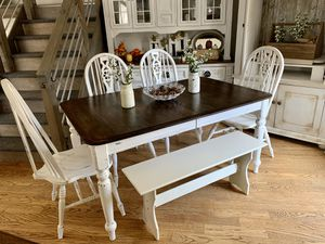 Shabby kitchen / dining table , 4 chairs and nook bench for Sale in Littleton, CO