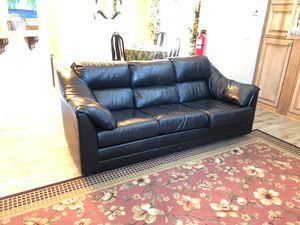 Black leather couches BABY CALF SOFT LEATHER BY LEATHER FACTORY GREAT CONDITION SOFA AND LOVE SEAT for Sale in Big Bear, CA