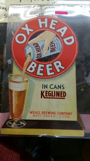 Old heavy cardboard stand up sign Ox HEAD BEER for Sale in Sun City, AZ