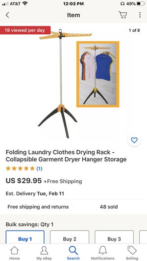 Folding Laundry Clothes Drying Rack - Collapsible Garment Dryer Hanger Storage for Sale in Stockton, CA