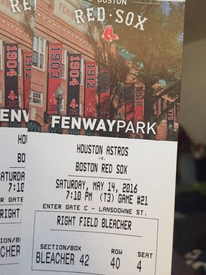 Pair of Redsoxs vs Astros tickets for sat at 7:10 for Sale in Framingham, MA