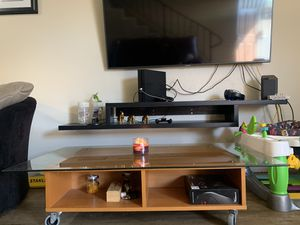 Wooden top glass coffee table for Sale in Hayward, CA