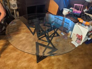 Large unique metal and beveled glass round table 54in diameter glass 1/2in thick 29in tall just refurbished glass great condition best kept indoors for Sale in Ocean Ridge, FL