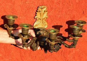 Antique Bronze Candelabra Wall Sconces with candle snuffer. Sold as pair only for Sale in Bally, PA