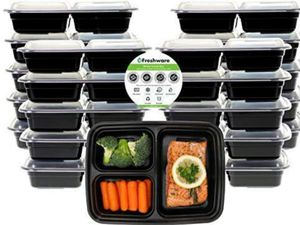 Meal Prep Containers [21 Pack] 3 Compartment w Lids, Food Storage Bento Box | BPA Free | Stackable | Lunch Boxes (33 oz) for Sale in Grand Prairie, TX