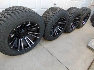 NEW Satin Black/Machined Accents 20X12 Rims LT 305 55 20 Tires for Sale in Aurora, CO
