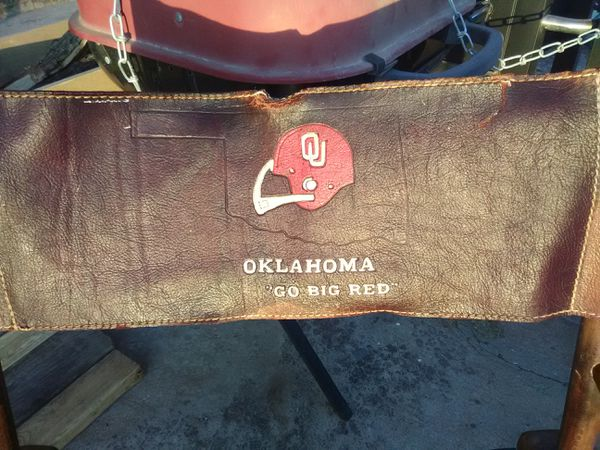 Hand tooled leather OU Coaches chair