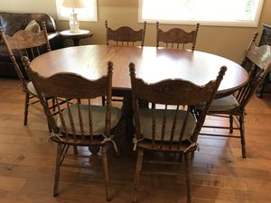 Oak Dining Table and Six Chairs for Sale in Simi Valley, CA