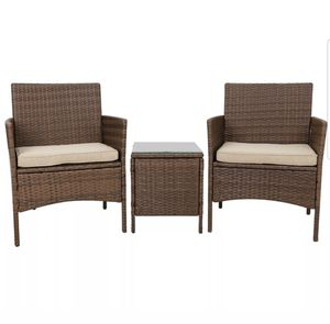 Patio Porch Furniture Sets 3 Pieces PE Rattan Wicker Chairs w/ Table Brand New Unused for Sale in Bloomington, CA