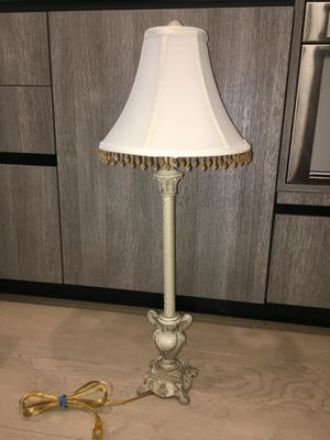 Ivory Candlestick Lamp with beaded shade! for Sale in San Francisco, CA