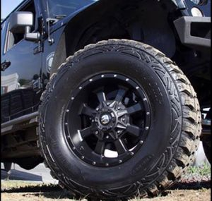 "17"" WHEELS & TIRES PACKAGE ✅17x9 Trail Master TM220 Rims 6x139 or 6x135 Satin Black Offset -6. ✅ 17"" M/T Mud Terrain Tires for Sale in La Habra, CA"