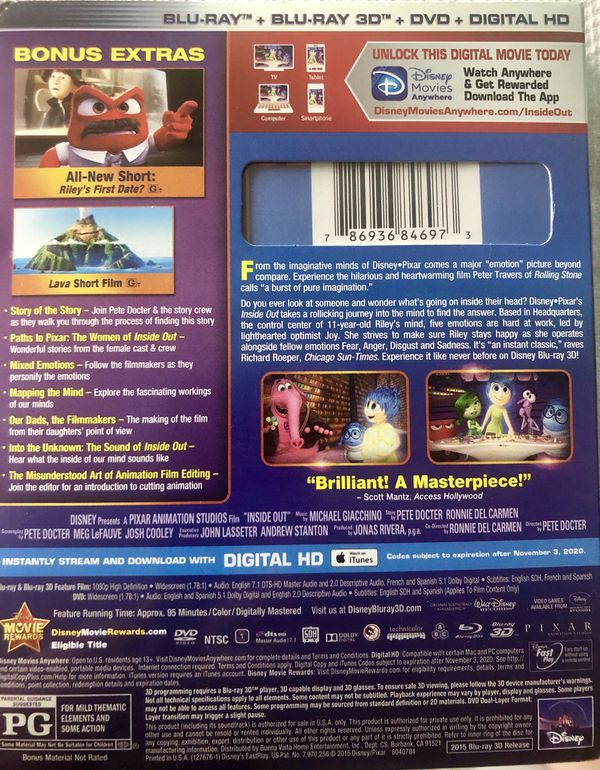 INSIDE OUT BLU RAY 3D NEW! +DVD +Digital