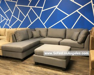 REAL SHOWROOM 😁 WE FINANCE - GREY L SHAPE REVERSIBLE CHAISE COUCH SOFA SECTIONAL WITH OTTOMAN COUCHES for Sale in Los Angeles,  CA