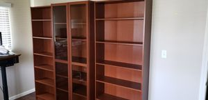 Three Cherry Wood Veneer Bookshelves, One with Glass Doors - MUST SELL for Sale in Streamwood, IL