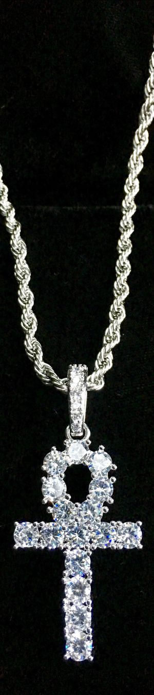 ANKH FULL DIAMONDS CZ 18K GOLD CHAIN MADE IN ITALY for Sale in North Bay Village, FL