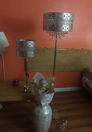 Pier 1 imports Table lamp, floor lamp and vase with capiz stem decor for Sale in Stockton, CA
