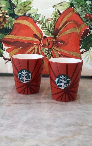 Starbucks Logo Coffee Espresso Demitasse Cup Shot Glass 3 oz, RED 2014 (Set of 2) for Sale in Kendall, FL