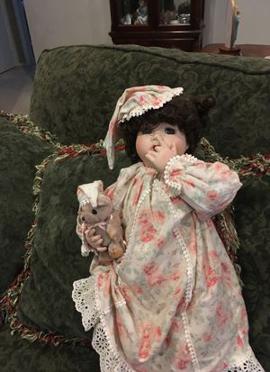 Dressed porcelain doll holding teddy bear for Sale in Freehold, NJ