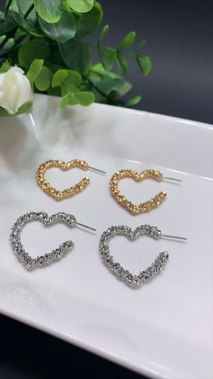 2 Sets Open Heart Stud Earrings Gold Plated, Gold and Silver Color for Sale in Tustin, CA
