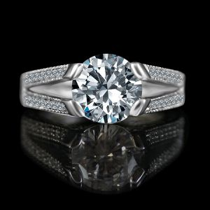 3ct Tension Style Round Vintage Miligree Design Diamond Veneer Simulated Diamond Engagement & Simulated Diamond Wedding Sterling Silver Ring, for Sale in San Francisco, CA