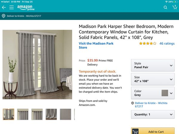 "madison park 108"" harper solid crushed window curtain panel grey"