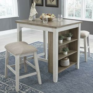 Skempton White/Light Brown 3-Piece Counter Table and Bar Stools for Sale in Cedar Park, TX