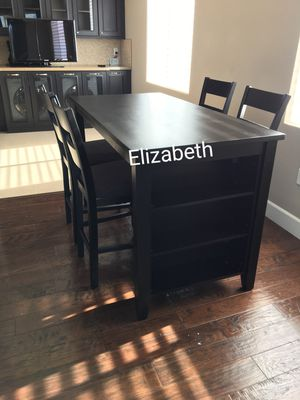 Brand new in box black counter height dining table set with kitchen shelves for Sale in Long Beach, CA