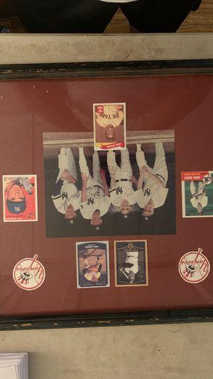 Yogi Berra, Don Larsen, Bill Skowron, Casey Stengel, Hank Bauer signed picture, in frame, with their baseball cards for Sale in Hempstead, NY