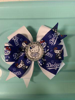 Homemade Dodger hello kitty bows for girl for Sale in Santa Fe Springs, CA